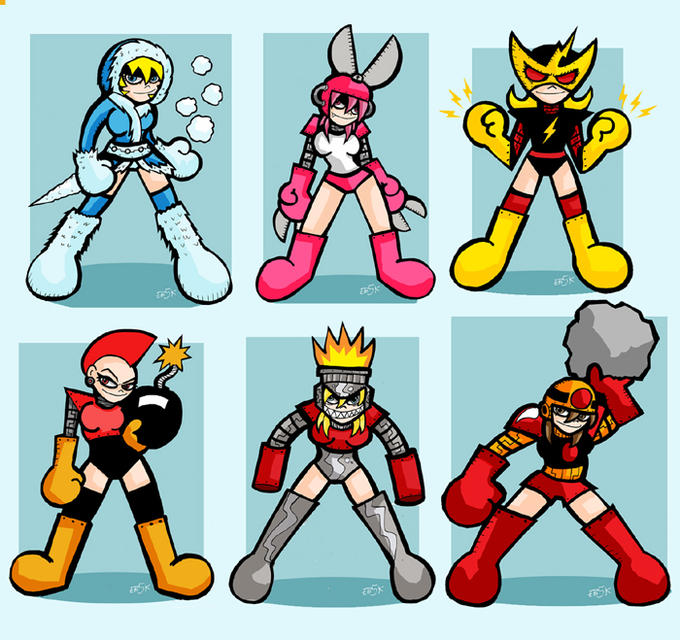 Mega Man Original 6 Robot Masters - RULE 63 EDITION