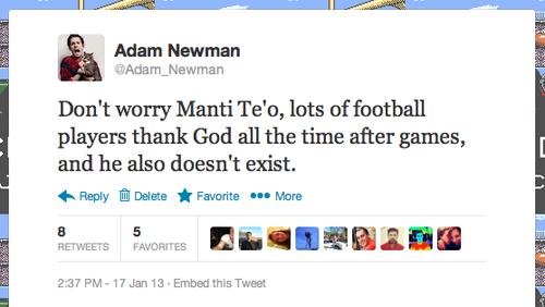 Adam Newman's twitter