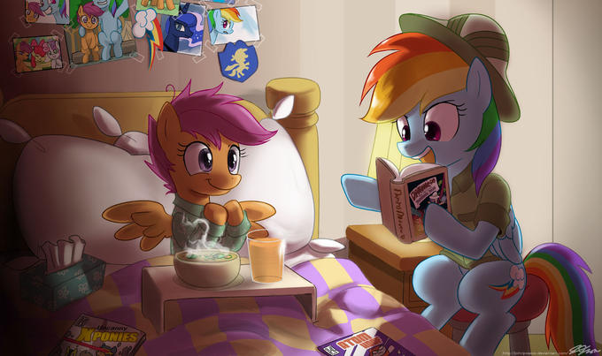 Dashie reading to a sick Scootaloo