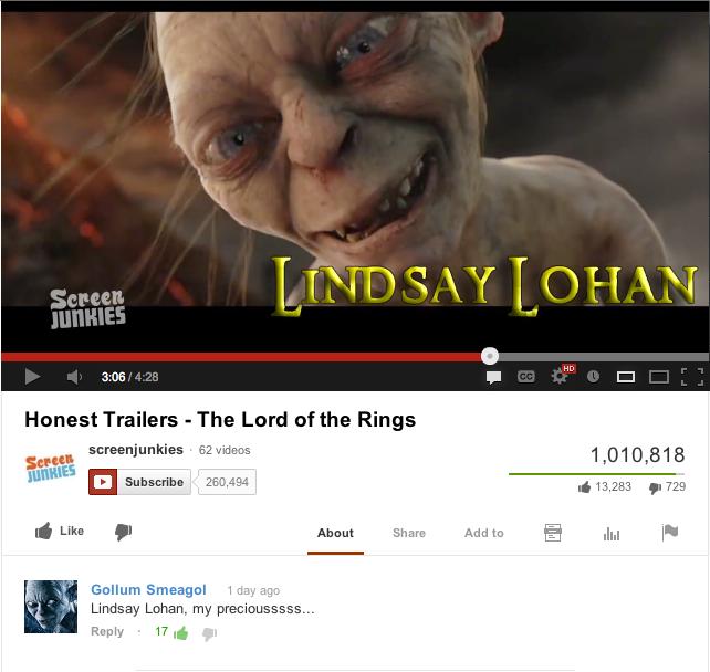 Gollum Loves Lindsay Lohan