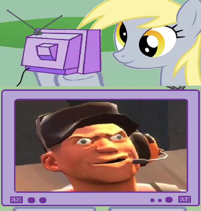 Derpy watches Derp Scout on TV from another parallel universe