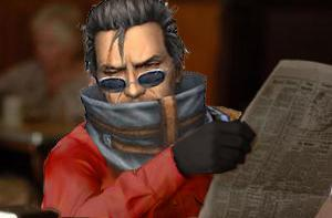 Auron With Newspaper
