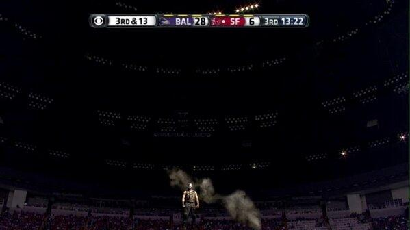The actual scene when the Superdome went lights out...