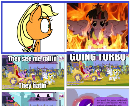Applejack's reaction to the image next to her