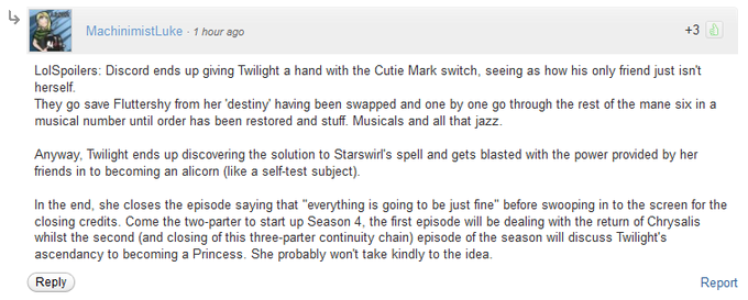 Spoilers for Magical Mystery Cure and the start of season 4.