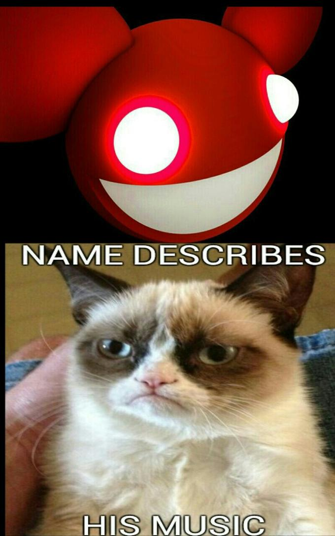 grumpy cat thinks deadmau5's name describes his music