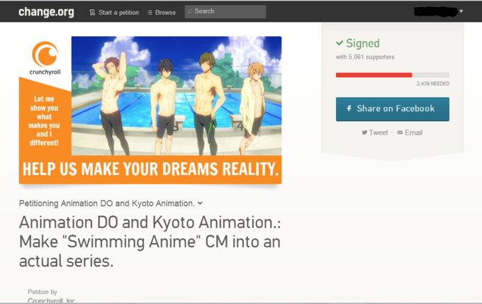 Swimming Anime Petition