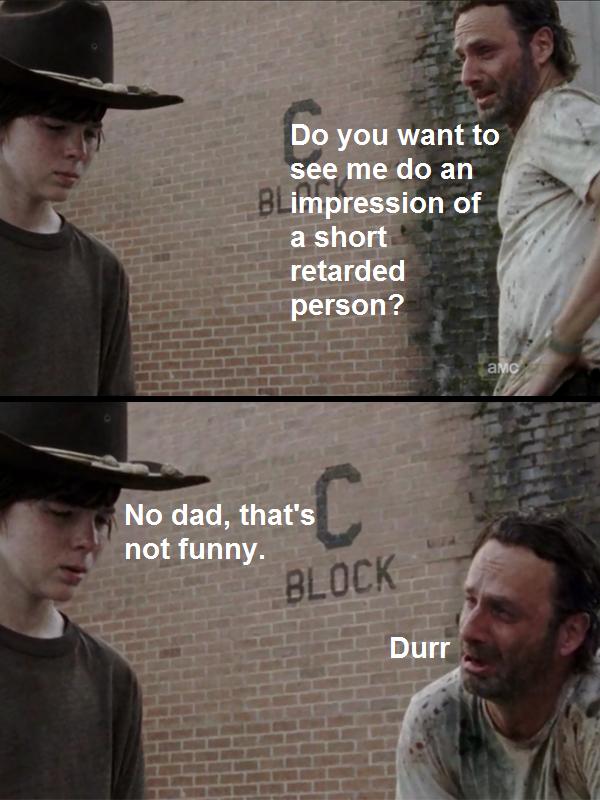 417 retarded rick the walking dead know your meme,Carl Rick Meme
