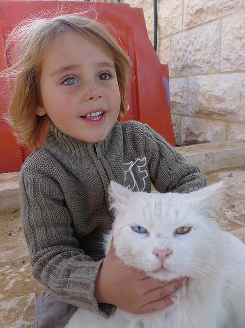A little kid and his pet
