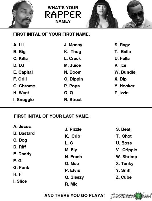 FIRST INITAL OF YOUR NAME A Lil B
