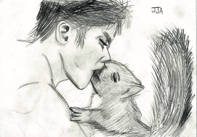 Guy making out with a Giant Squirrel