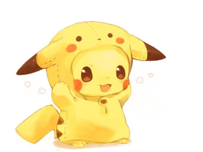 Pikachu wearing a pikachu suit