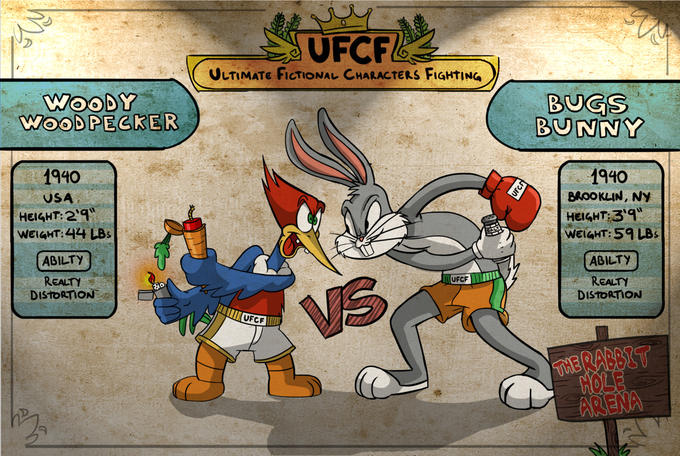 For the Ultimate Childhood Troll Title: Woody Woodpecker vs. Bugs Bunny