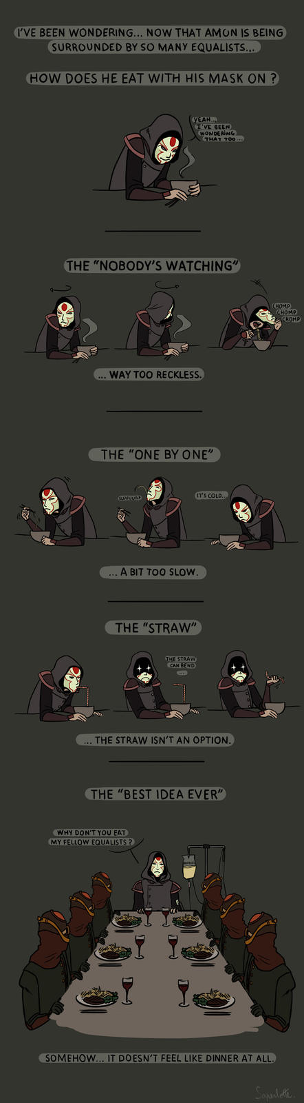 How does Amon eat?