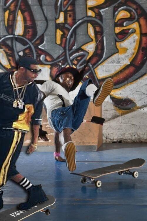 Drake sends skateboarder fallin