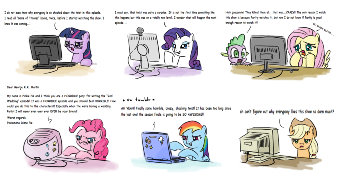 Mane 6 reaction to the recent episode of Game of Thrones - RED WEDDING