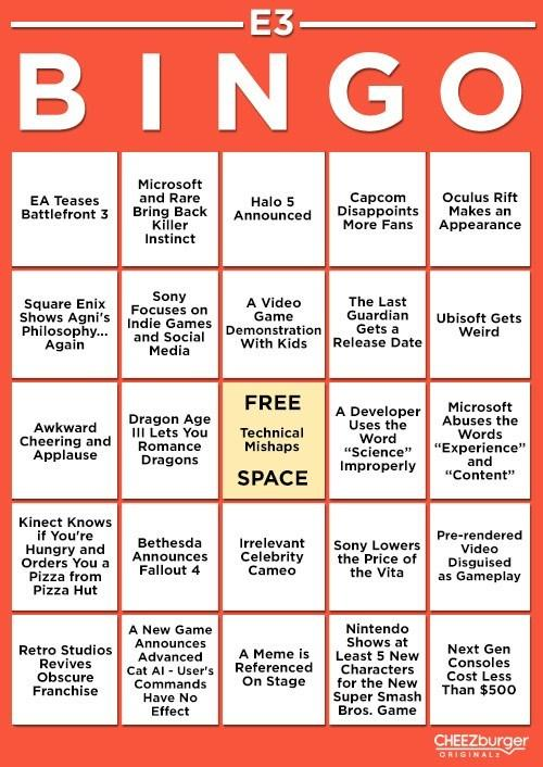 Get Ready for E3 2013 with E3 Bingo Card!