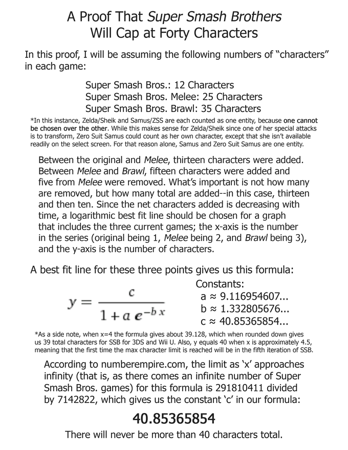 My proof of SSB's max characters based on sketchy math.