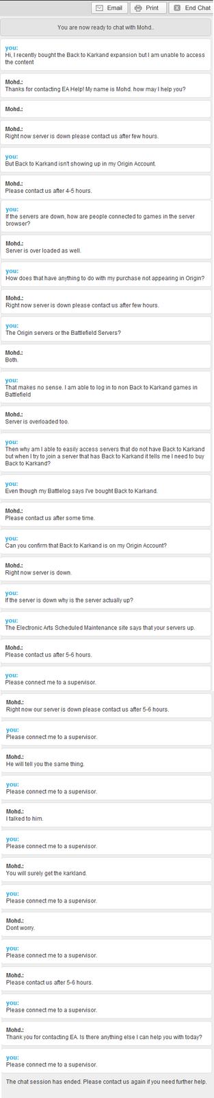 Customer Service chat - Battlefield edtion
