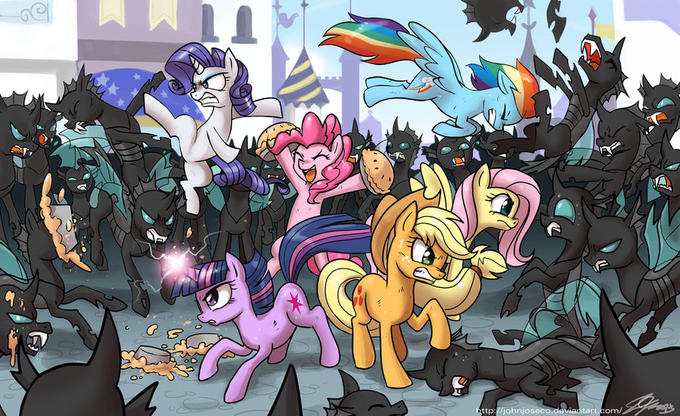 The mane6 vs the Changelings