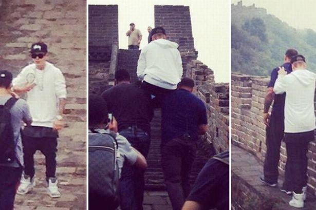 Justin Bieber Carried Up the Great Wall of China