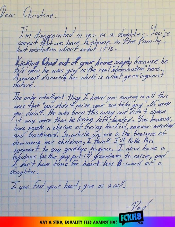 Grandfather Writes Letter To His Daughter After She Kicks Out His Gay Grandson
