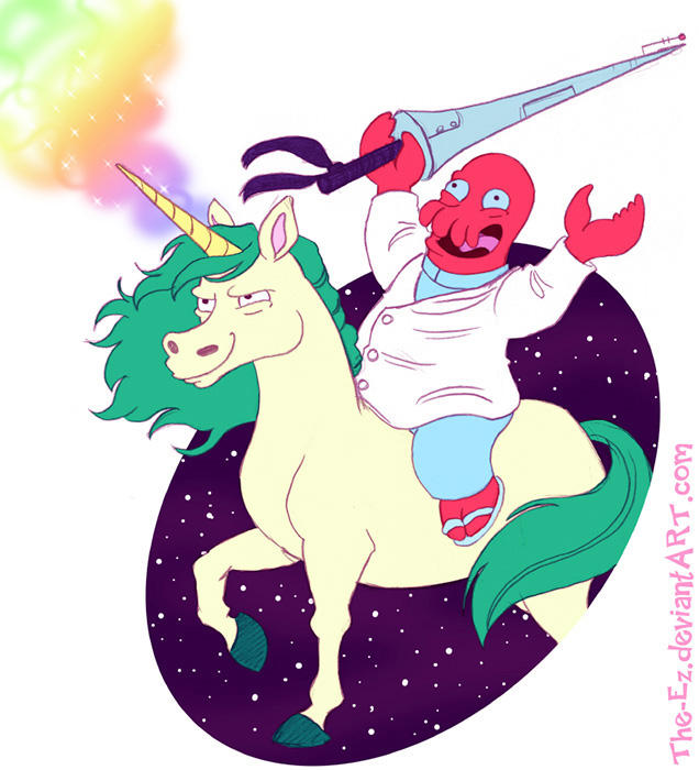 Dr. Zoidburg on a unicorn