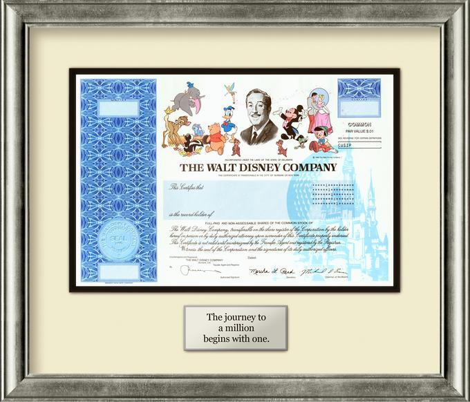 Disney Stock Certificate