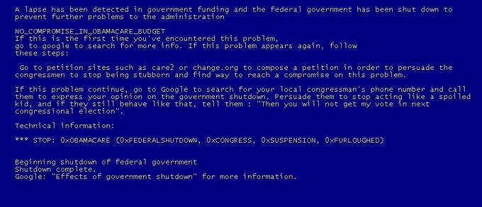 My BSOD parody on the current government shutdown