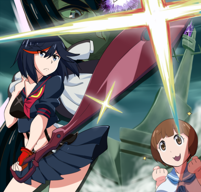 Ryuuko, Mako, Satsuki and Senketsu