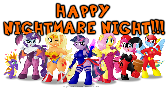 Anthro Ponies on Nightmare Night