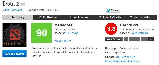 Dota 2 Metacritic No Diretide