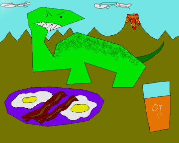 Brontosaurus Eating Breakfast by Strong Mad