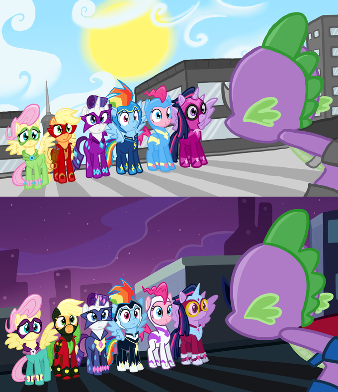 The Power Ponies, day and night