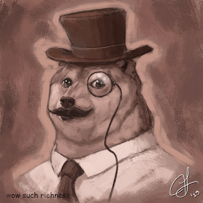 fancy doge portrait