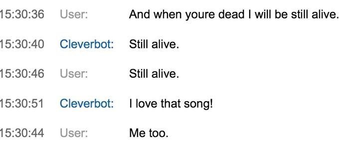 Singing Still Alive With Cleverbot 3