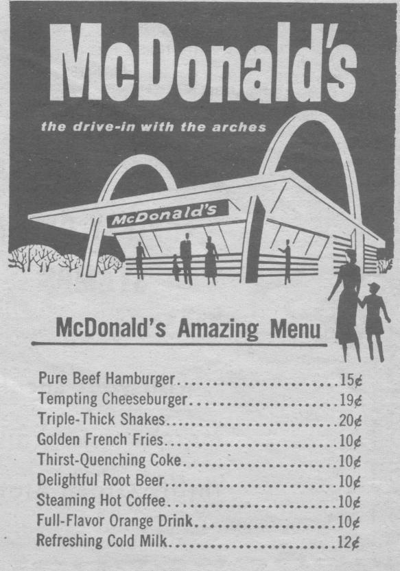 Original McDonald's Menu