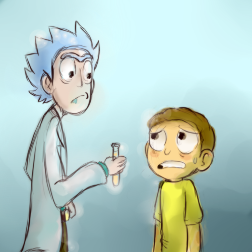 Fan art of Rick and Morty with a lab vile