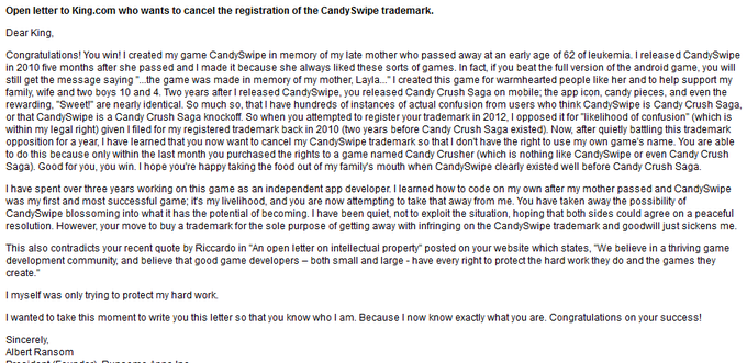 CandySwipe's developer response to King wanting to cancel the CandySwipe trademark.