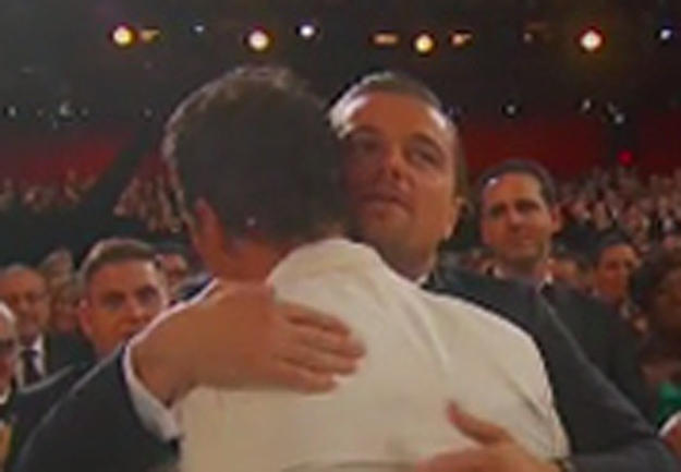 Leo puts on a brave face, gives McConaughey a hug