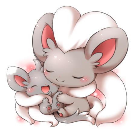 Cinccino hugging Minccino