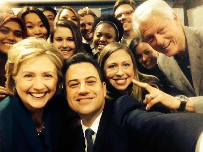 Jimmy Kimmel with Bill, Hillary and Chelsea Clinton