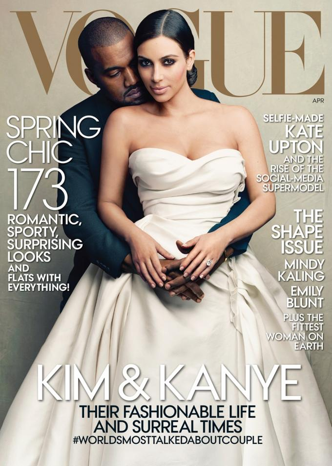 Kim Kardashian and Kanye West on cover of Vogue magazine