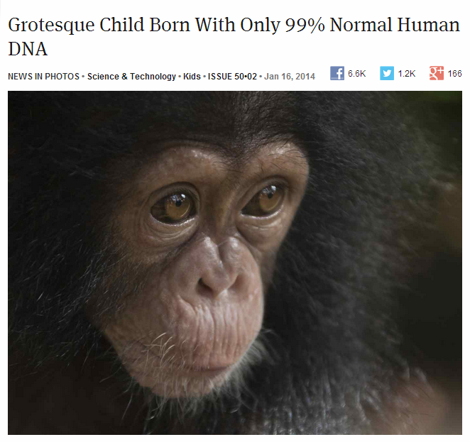 Grotesque Child Born With Only 99% Normal Human DNA