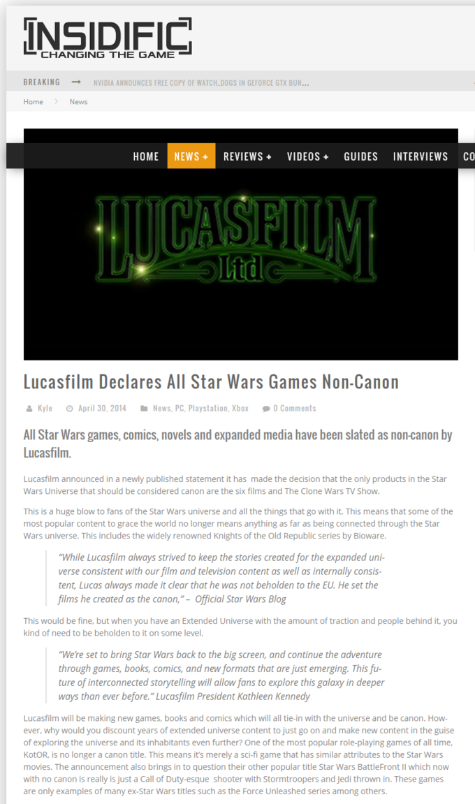 Games, comics and novels. Anything that isn't the 6 movies and Clone Wars TV show is now non-canon. Article is in notes.