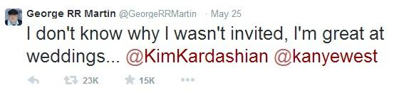 George RR Martin tweets about Kanye's wedding