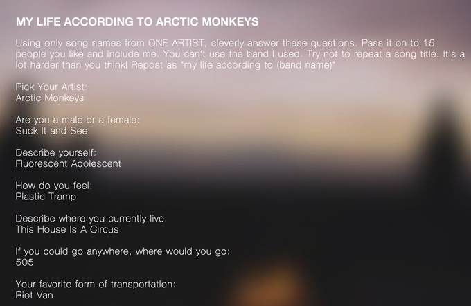 My Life According to Artic Monkeys