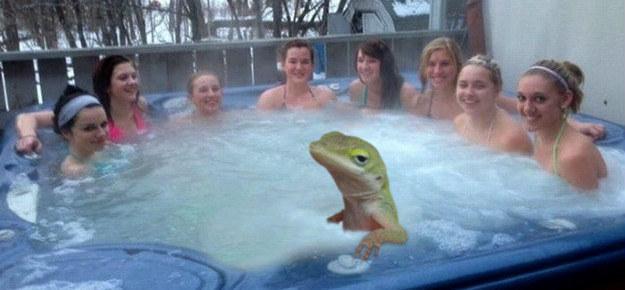 unimpressed in a hot tub