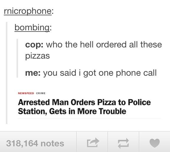 Arrested Man Orders Pizza to Police Station, Gets in More Trouble