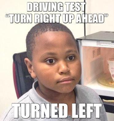 880 driving test minor mistake marvin know your meme